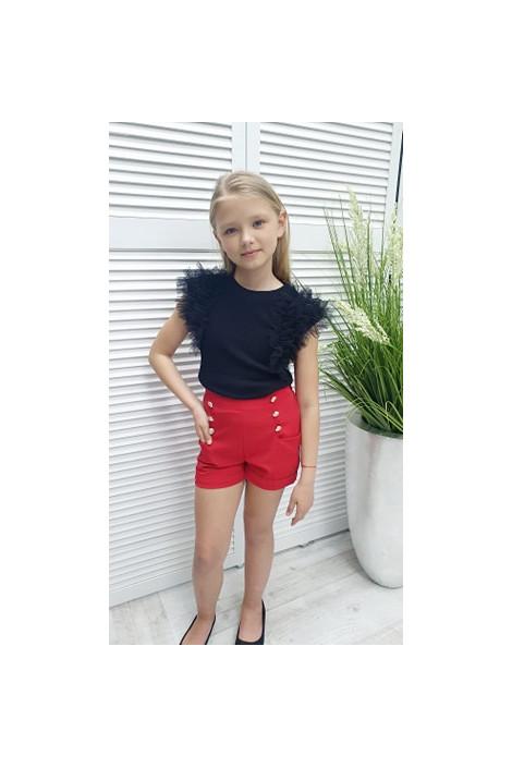 Spodenki dziewczęce czerwone z guzikami